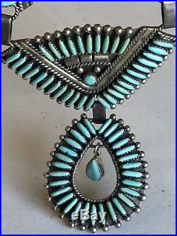 Squash Blossom Needle Point Necklace Sterling Silver Turquoise