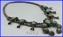 Squash Blossom Turquoise Sterling Silver Necklace