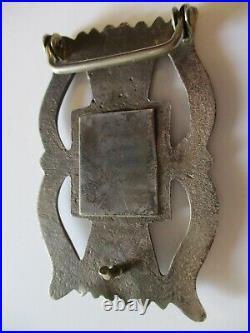 Sterling Silver Antique Navajo Sand Cast Belt Buckle Tribal Art Sculpture Old