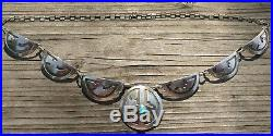Sterling Silver Hopi Turquoise Squash Blossom Necklace