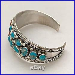 Sterling Silver Navajo Handmade Half Turquoise Half Coral Cluster Cuff Bracelet