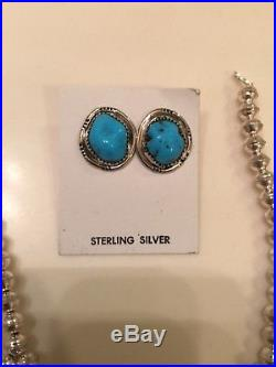 Sterling Silver Navajo Handmade Oval Nugget Squash Blossom with Earrings