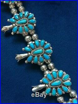 Sterling Silver Navajo Turquoise Squash Blossom Necklace