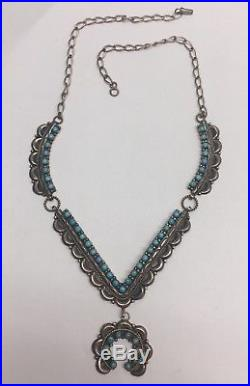 Sterling Silver Squash Blossom Necklace with Turquoise