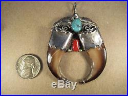Sterling Silver & Turquoise/Bear Claw Pendant, Wydell Billie, Navajo, 28.6g