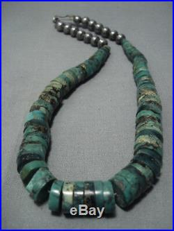 Striking Vintage Navajo Green Turquoise Sterling Silver Necklace Old