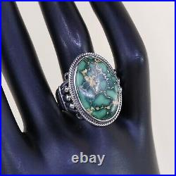 Sz9, Antique Navajo Sterling 925 Silver edison sandy smith Bisbee Turquoise Ring