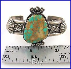 TAHE Vintage Navajo Handmade Sterling Silver Royston Turquoise Cuff Bracelet J