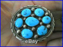 TOMMY MOORE Native American Indian Turquoise Cluster Sterling Silver Concho Belt
