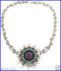 Taxco Mexican Sterling Silver Amethyst Turquoise Flower Necklace Mexico