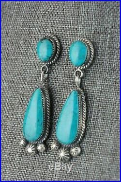 Turquoise & Sterling Silver Earrings Sarah Yazzie Navajo