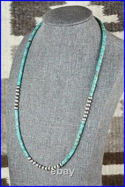 Turquoise & Sterling Silver Necklace Navajo