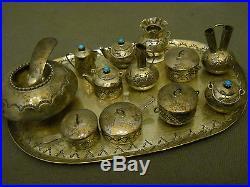 Turquoise sterling silver tea set + signed EMW