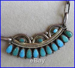 Vintage Lorraine Waatsa Zuni Turquoise Cluster Sterling Silver Necklacesigned