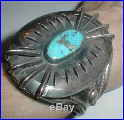 Vintage Navajo Old Pawn Huge Sterling Silver Turquoise Cuff Bracelet Star Lot Nr
