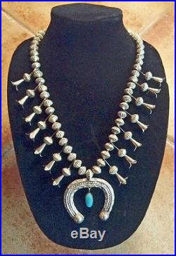 Vintage Navajo Old Pawn Squash Blossom Necklace Sterling Silver Turquoise Nr