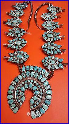 Vintage Navajo Sterling Silver Squash Blossom Necklace Turquoise Old Pawn 9 0z