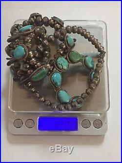 Vintage Navajo Turquoise & Sterling Silver Squash Blossom Necklace, Signed Ws