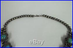 Vintage Sterling Silver Verigated Blue Turquoise Squash Blossom Necklace