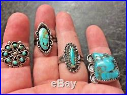 VTG Pawn Native American Old Ring Lot Turquoise Sterling Silver 4 rings