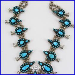 VTG Sterling Silver Native ZUNI MORENCI Turquoise SQUASH BLOSSOM Old Pawn 248g