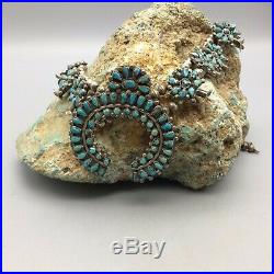 Very Nice, OLDER, Turquoise Cluster and Sterling Silver Squash Blossom Necklace