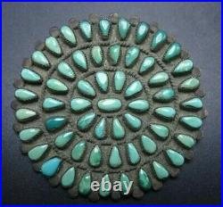 Vintage 1950s NAVAJO Sterling Silver TURQUOISE Petit Point Cluster PIN/BROOCH