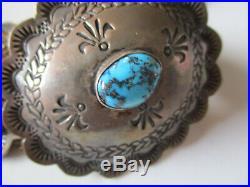 Vintage 1960s Handstamped Sterling Silver Turquoise Concho Belt Buckle