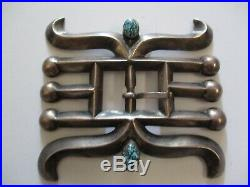 Vintage Antique Sterling Silver Navajo Belt Buckle Large 3 Inch Turquoise Pawn
