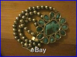 Vintage Arizona Kingman Turquoise Pendant Sterling Silver Navajo Pearls Necklace
