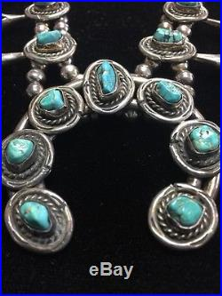 Vintage Blue Turquoise Squash Blossom Necklace Sterling Silver