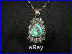 Vintage Handmade Navajo High Grade ROYSTON Turquoise Sterling Silver Pendant
