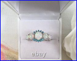 Vintage Jewellery Sterling Silver Ring Opals Aquamarines Antique Deco Jewelry