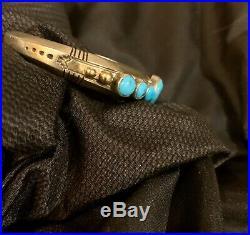 Vintage Kingman Turquoise 7 Row Bracelet Heavy Sterling Silver Navajo JB 14K