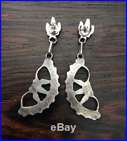 Vintage Long 2 1/4 Navajo Sterling Silver Turquoise Pendant Drop Earrings