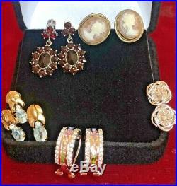 Vintage Lot Sterling Silver Earrings Antique Cameo Garnet Diamond Aquamarine