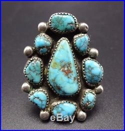 Vintage NAVAJO Sterling Silver & Deep Blue BISBEE TURQUOISE Cluster RING, sz 8.5