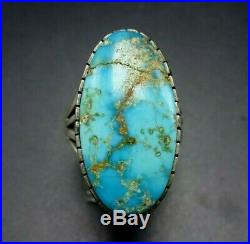 Vintage NAVAJO Sterling Silver EASTER BLUE TURQUOISE RING size 8.5 Wide Band