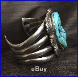 Vintage NAVAJO Sterling Silver Moreno Turquoise Cuff Bracelet-Stunning