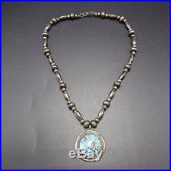 Vintage NAVAJO Sterling Silver Navajo Pearls & Bisbee TURQUOISE NECKLACE