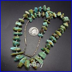 Vintage NAVAJO Sterling Silver & Royston TURQUOISE NECKLACE Fine Shell Heishi