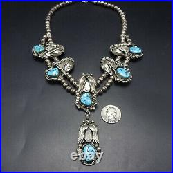 Vintage NAVAJO Sterling Silver Turquoise SQUASH BLOSSOM STYLE Necklace LARIAT