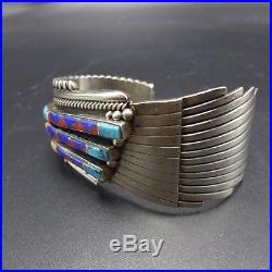 Vintage NAVAJO/ZUNI Sterling Silver CHANNEL INLAY Asymmetric Cuff BRACELET 69.4g