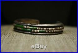 Vintage Native American Navajo Turquoise Heishi Sterling Silver Cuff Bracelet