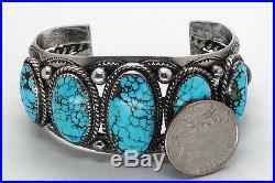 Vintage Native American Spider Web Turquoise Bracelet Sterling Silver Navajo
