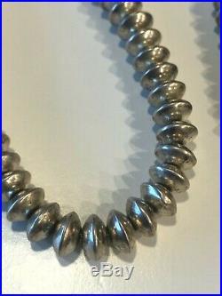 Vintage Native American Sterling Silver Navajo Pearls Bench Bead Necklace