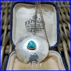 Vintage Native American Sterling Silver Necklace, Turquoise, Signed H. Joe
