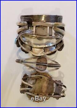 Vintage Native American Sterling Silver Turquoise Bracelet Lot