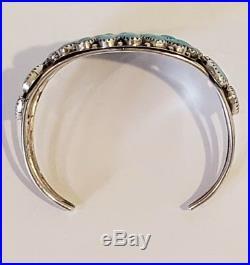 Vintage Native American Sterling Silver Turquoise Bracelet SIGNED OM