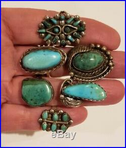 Vintage Native American Sterling Silver Turquoise Ring Lot